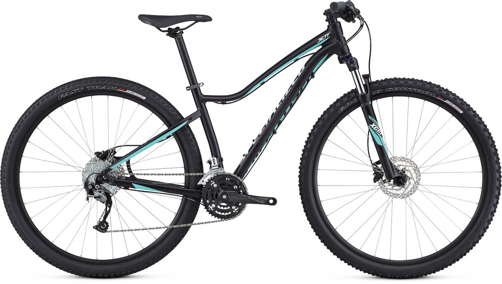 Specialized Jett Sport 29 satin tarmac black/light turquoise/metal white silver 2017
