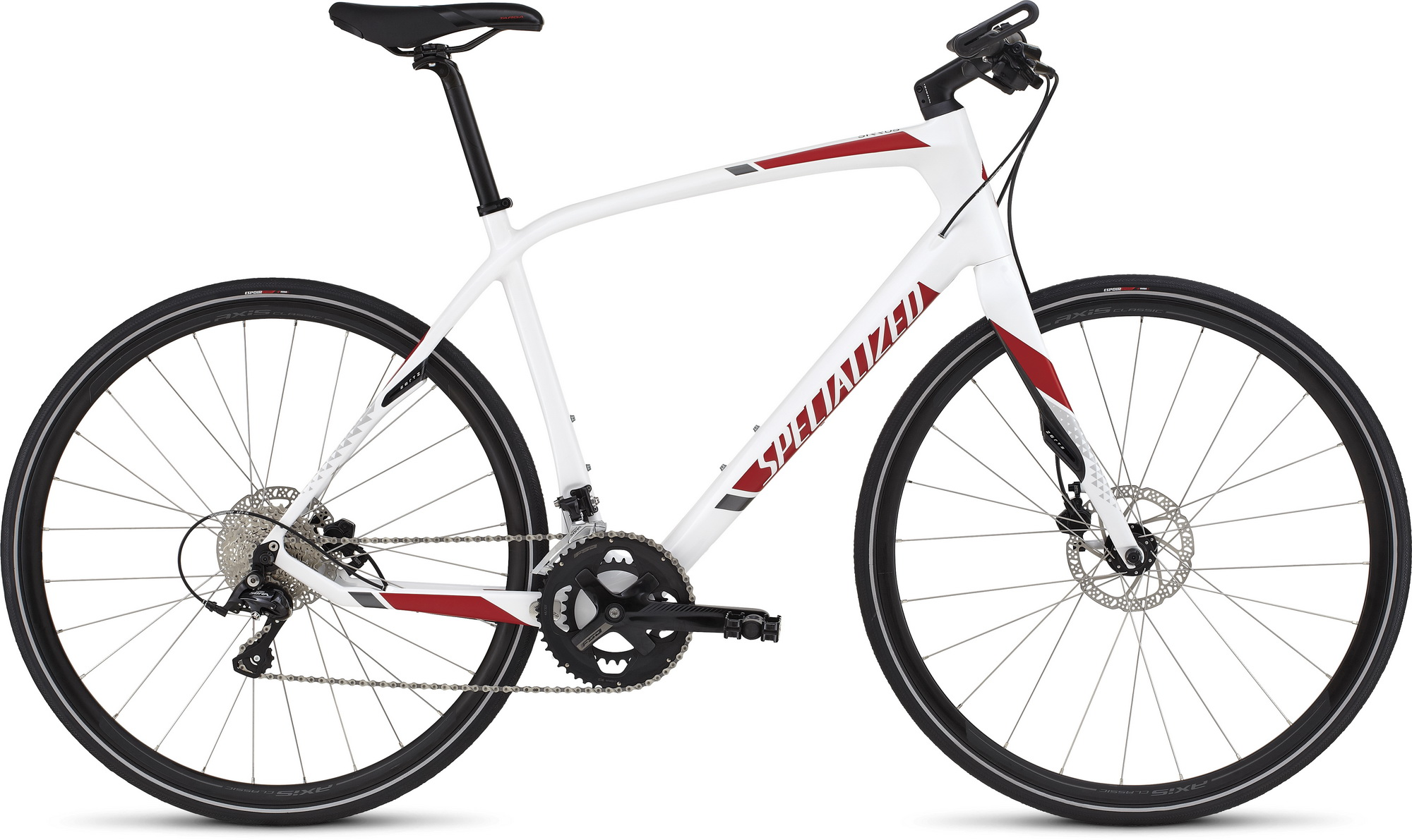 Specialized Sirrus Elite Carbon Disc white/red/charcoal 2016 - L